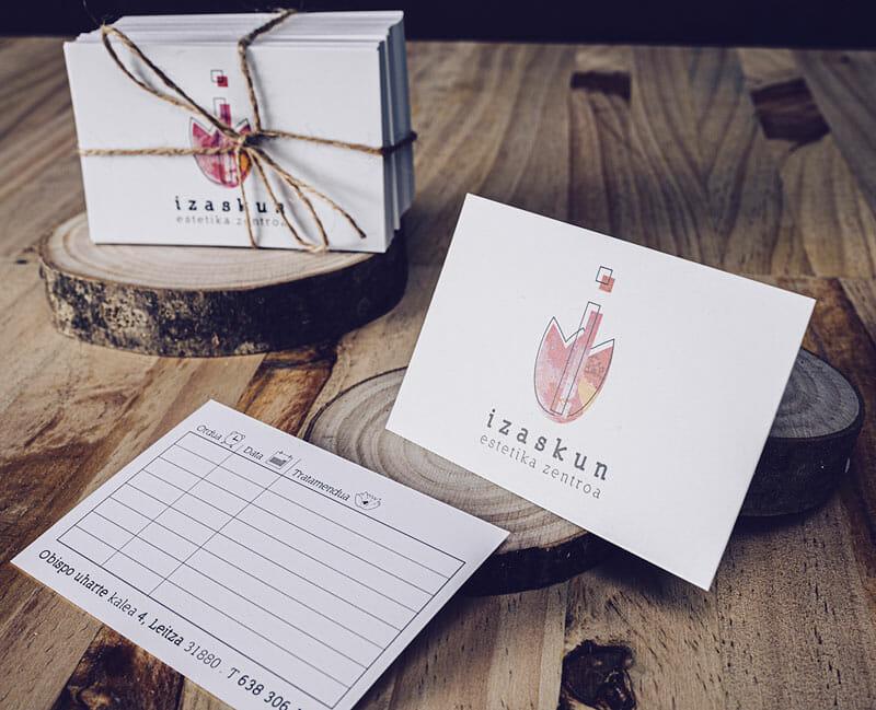 Diseño de tarjetas para citas de Centro de Estética Izaskun