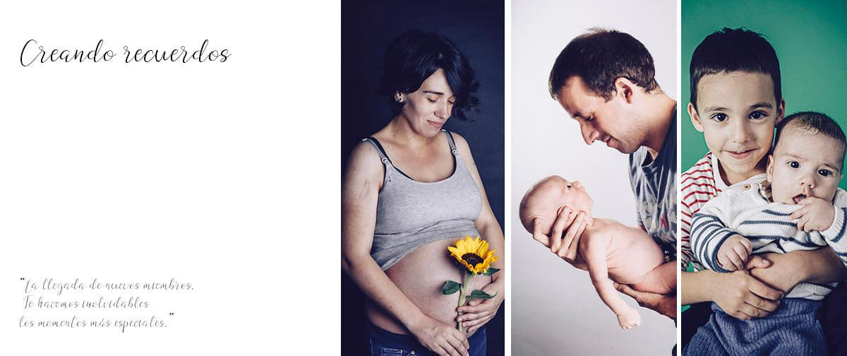 Sesión de fotos premamá o embarazo, recién nacido (newborn) y familiar